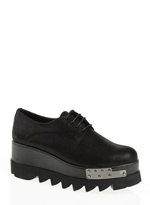 Derigo Dolgu Topuklu Ayakkabı Siyah